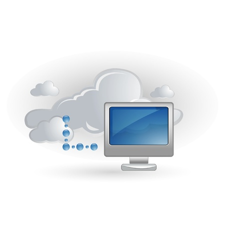 computer networking: screen and cloud symbol Illustration