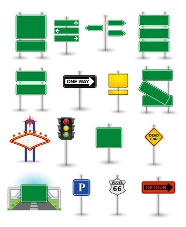 panneaux danger: ensemble de panneaux verts Illustration