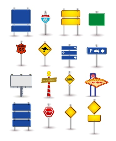 sign pole: set of road sign
