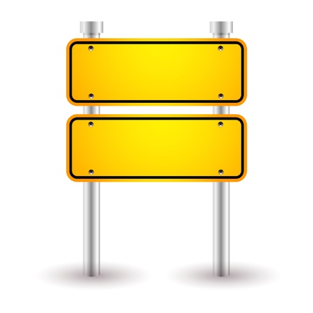 highway sign: yellow blank road sign Illustration
