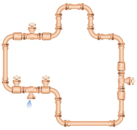 waterworks: copper pipes Illustration