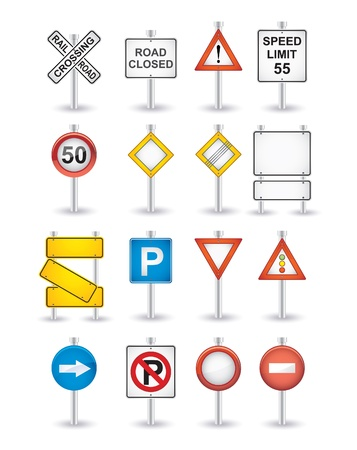 the crossing: danger road signs set