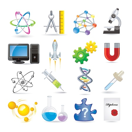 science set of icons Vector