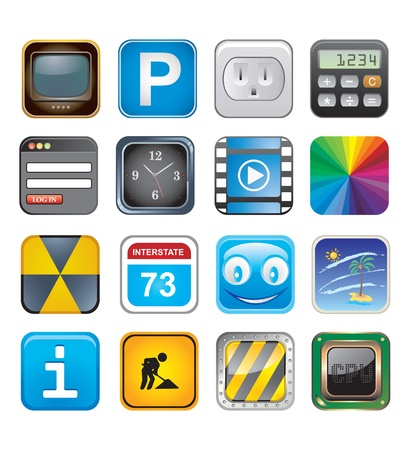 apps icons set three Stock Vector - 15134976