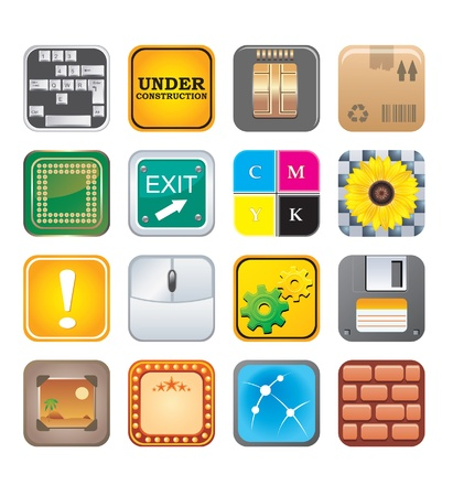 apps icons set five Stock Vector - 15134978