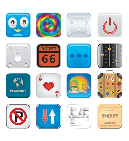 apps icons set six Stock Vector - 15134984