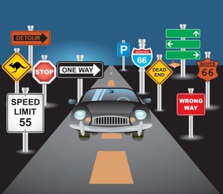 vezetés: autó és jelek Illusztráció