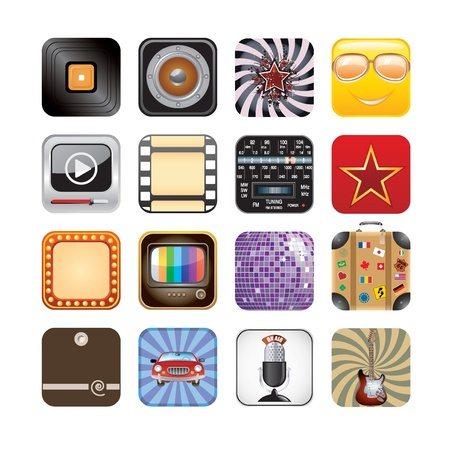 retro app icons Stock Vector - 15134983