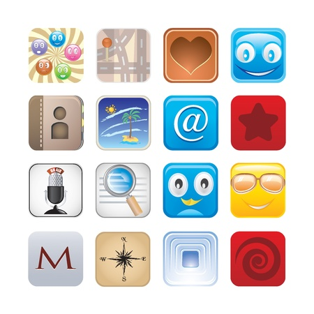 social app set of icons Stock Vector - 15134980