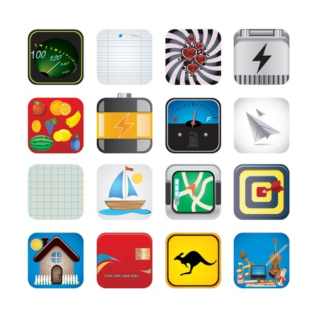app set of icons Stock Vector - 17968027