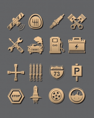 spark plug: car set of icons Illustration