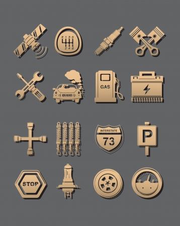 piezas coche: coche conjunto de iconos Vectores