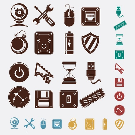 phone system: computer icons set