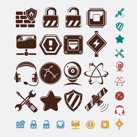 fire plug: network icons set Illustration