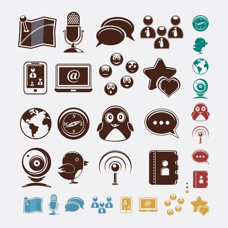 social set of icons Vector