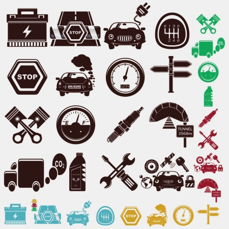 car plug: car set of icons Illustration