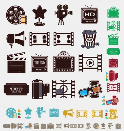clapper board: film icons in six colors