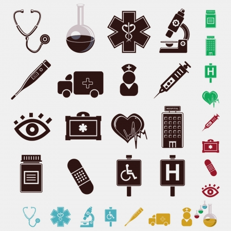 clamps: medical set of icons