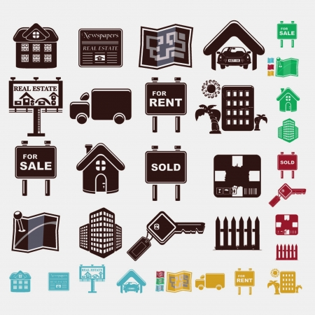 real estate icons in five colors Vector