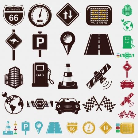 car parking: road icon set Illustration