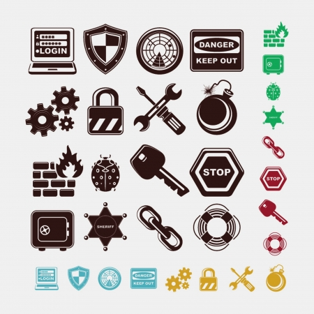 safe icons in five colors Stock Vector - 19657372