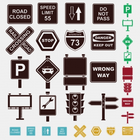 railroad crossing: signs set of icons