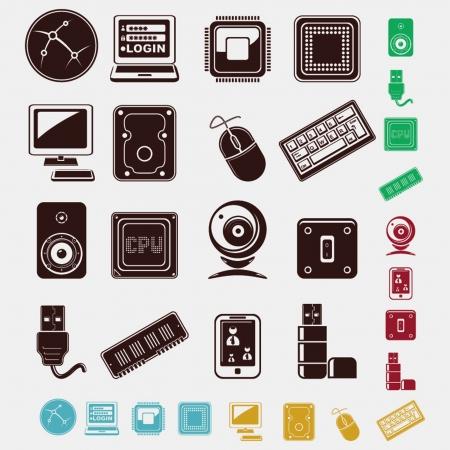 black pictogram: technology set