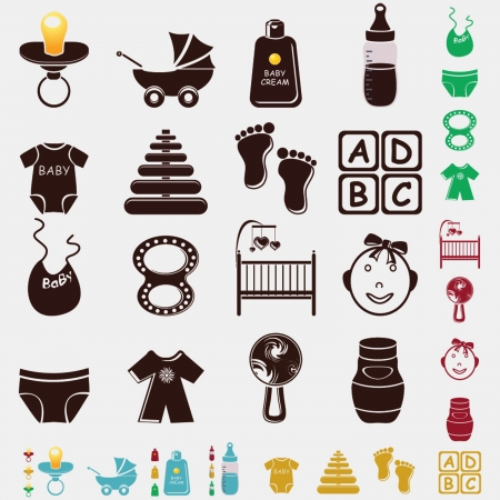 baby set icons Stock Vector - 19903826