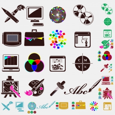 graphic tablet: design set of icons Illustration