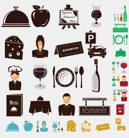 reserved sign: restorante icons Illustration