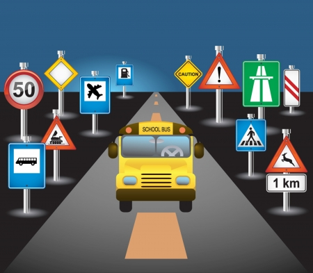 driving school: school bus and signs