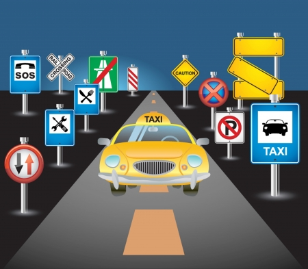 taxi on the road Vector
