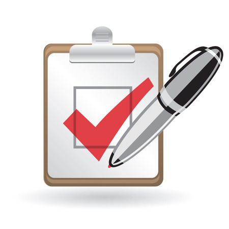 check mark and pen Vector
