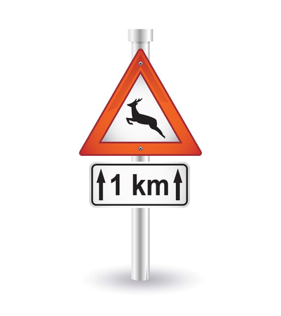 reindeer road sign Vector