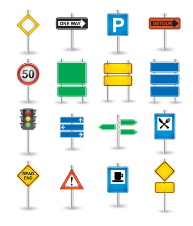 road signs icons Stock Vector - 22961174