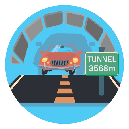 highway tunnels: tunnel circle icon with shadow Illustration