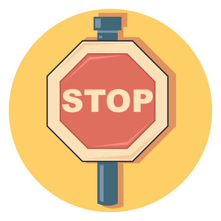 stay alert: stop sign circle icon with shadow Illustration