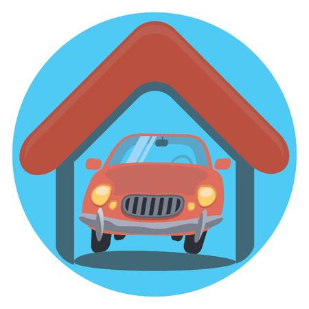 symbol traffic: garage circle icon with shadow