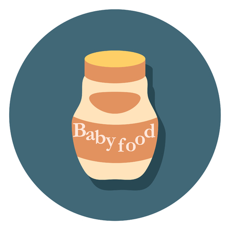 baby food: baby food circle icon with shadow