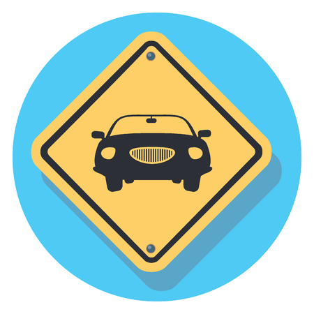 road safety: car sign circle icon with shadow Illustration