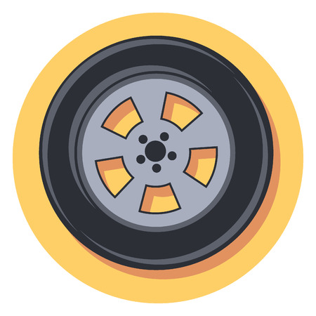tyre tread: tire circle icon with shadow