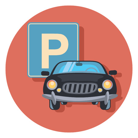 circle icon: parking and car circle icon with shadow Illustration