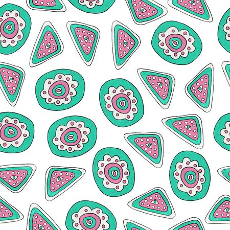 Bright folk ornament. Seamless pattern with geometric mint and pink elements. Ethnic motifs for printing on fabric, wallpaper, packaging, design.