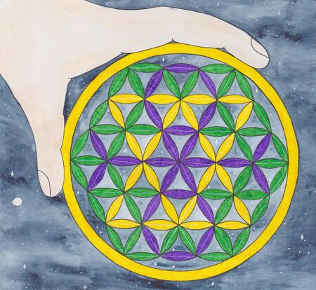 Mandala Flower of life with hand. Watercolor illustration. Ancient symbol, spiritualistic hexagon in a circle, concentration of energy. Model of Creation.