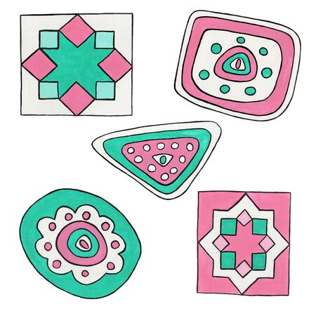 Abstract mint and pink elements. Geometric hand drawn ornaments isolated on a white background. Folk and ethnic motifs for printing on fabric, wallpaper, packaging, design.