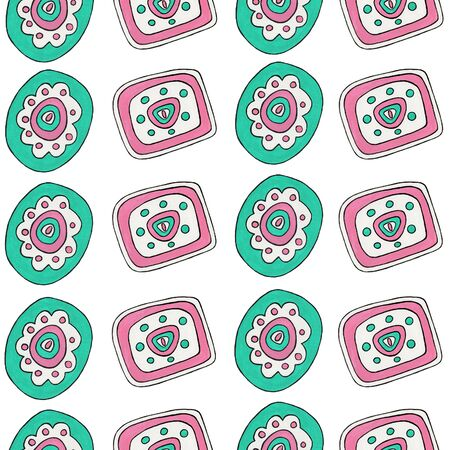 Abstract geometric ornament. Seamless horizontal pattern with simple mint and pink elements. Folk and ethnic motifs for printing on fabric, wallpaper, packaging, design.