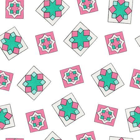Abstract geometric ornament. Seamless pattern with rectangular mint and pink elements. Folk and ethnic motifs for printing on fabric, wallpaper, packaging, design. 写真素材