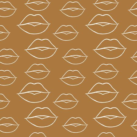 Female lips seamless pattern on a craft background. White outline. Stylish illustration for printing on packaging, wallpaper, textiles, banners.