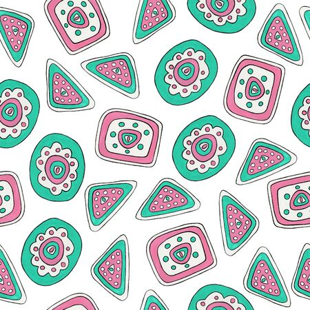 Seamless pattern with abstract mint and pink elements. Hand drawn. Folk and ethnic ornament motifs for printing on fabric, wallpaper, packaging, design.