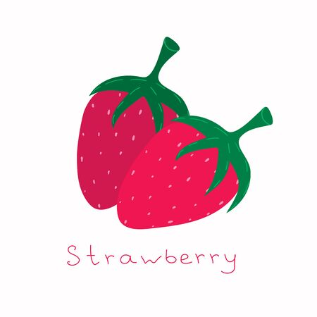 Two strawberries clipart. Cute vector illustration. Hand drawn cute element